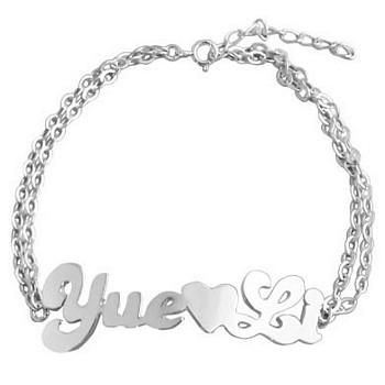 goedkope verkoop nieuwe foto's popul Armband met naam Zilver hart | Sieraadgraveren.be