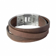 Leren dacaya armband cross roads bruin 20mm
