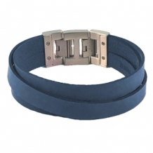 Leren armband Dacaya cross roads blauw 20mm