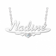Zilveren naamketting model Nadine